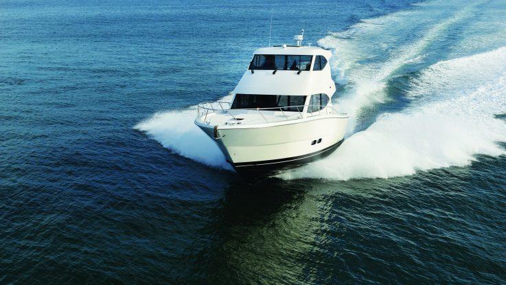 The 2016 Maritimo M48 Cruising Mororyacht open for inspection